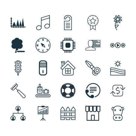 crotchets: Set Of 25 Universal Editable Icons. Can Be Used For Web, Mobile And App Design. Includes Elements Such As Tree Structure, Meadow, Crotchets And More.