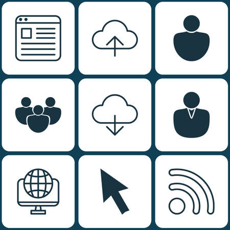 wap: Set Of 9 Online Connection Icons. Includes Account, Save Data, Team And Other Symbols. Beautiful Design Elements. Illustration