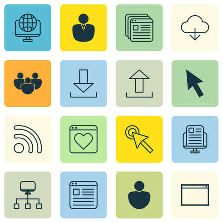 Set Of 16 Web Icons Includes Account Website Page Login And