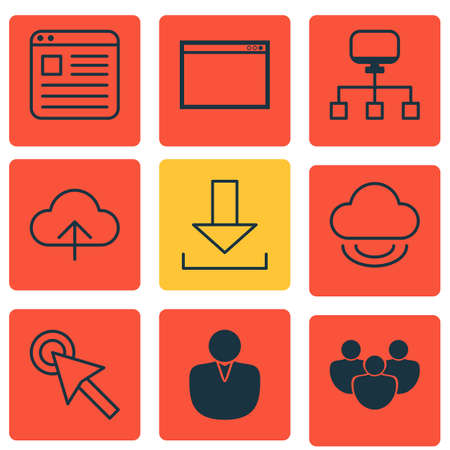 wap: Set Of 9 Web Icons. Includes Local Connection, Data Synchronize, Account And Other Symbols. Beautiful Design Elements. Illustration