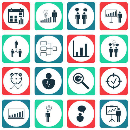 Set Of 16 Administration Icons. Includes Project Presentation, Opinion Analysis, Presentation Date And Other Symbols. Beautiful Design Elements. Illustration