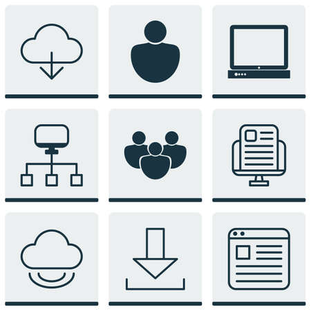 wap: Set Of 9 Web Icons. Includes Login, Virtual Storage, Local Connection And Other Symbols. Beautiful Design Elements.