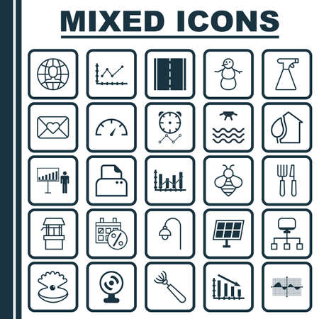 plot: Set Of 25 Universal Editable Icons. Can Be Used For Web, Mobile And App Design. Includes Elements Such As Harrow, Sunrise, Project Presentation And More.