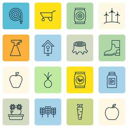 bag of soil: Set Of 16 Agriculture Icons. Includes Sprinkler, Fertilizer, Birdhouse And Other Symbols. Beautiful Design Elements.