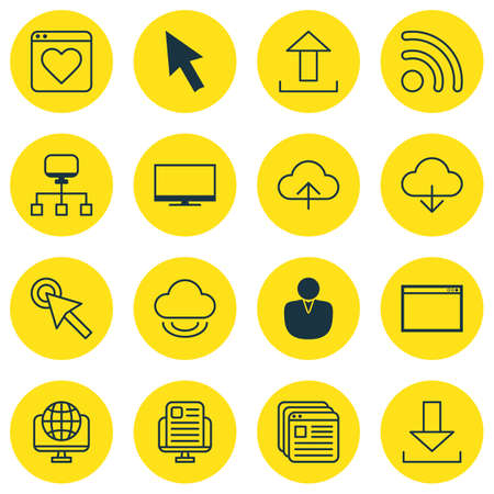 wap: Set Of 16 Online Connection Icons. Includes Wifi, Computer Network, Save Data And Other Symbols. Beautiful Design Elements. Illustration