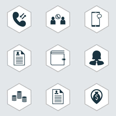 Set Of 9 Management Icons. Includes Curriculum Vitae, Female Application, Phone Conference And Other Symbols. Beautiful Design Elements. Illustration
