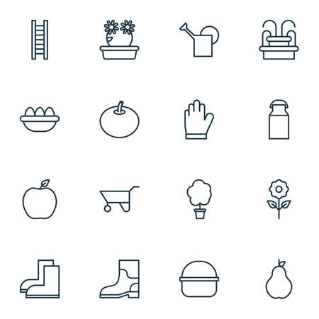bailer: Set Of 16 Plant Icons. Includes Protection Mitt, Bailer, Gardening Shoes And Other Symbols. Beautiful Design Elements.