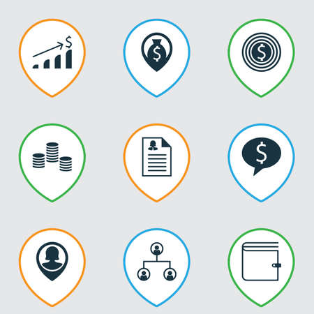 Set Of 9 Hr Icons. Includes Wallet, Money, Business Goal And Other Symbols. Beautiful Design Elements.