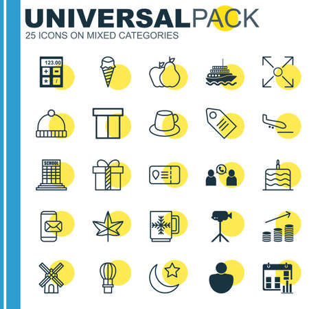 Set Of 25 Universal Editable Icons. Can Be Used For Web, Mobile And App Design. Includes Elements Such As Presentation Date, Crescent, Flight Basket And More.