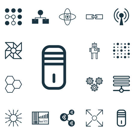 robotic transmission: Set Of 16 Artificial Intelligence Icons. Includes Controlling Board, Branching Program, Mainframe And Other Symbols. Beautiful Design Elements. Illustration