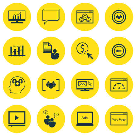 Set Of 16 SEO Icons. Includes Conference, Focus Group, Newsletter And Other Symbols. Beautiful Design Elements. Illustration