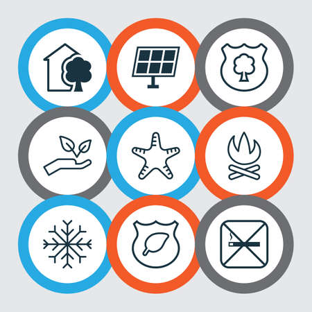 Set Of 9 Ecology Icons. Includes Sea Star, Bonfire, Snow And Other Symbols. Beautiful Design Elements.