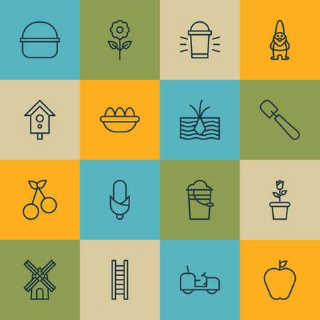 Set Of 16 Farm Icons. Includes Taste Apple, Growing Plant, Shovel And Other Symbols. Beautiful Design Elements. Illustration
