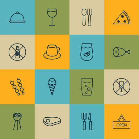 not open: Set Of 16 Restaurant Icons. Includes Cutlery, Steak, Stick Batbecue And Other Symbols. Beautiful Design Elements.