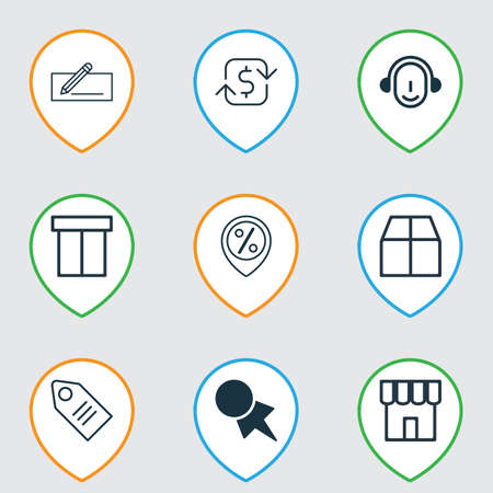 Set Of 9 Ecommerce Icons. Includes Cardboard, Employee, Money Transfer And Other Symbols. Beautiful Design Elements. Ilustrace