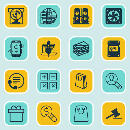 telephone icons: Set Of 16 Ecommerce Icons. Includes Dollar Banknote, Business Inspection, Telephone And Other Symbols. Beautiful Design Elements. Illustration