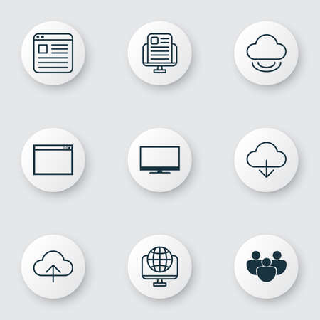 hdtv: Set Of 9 World Wide Web Icons. Includes Display, Website Page, Data Synchronize And Other Symbols. Beautiful Design Elements. Illustration