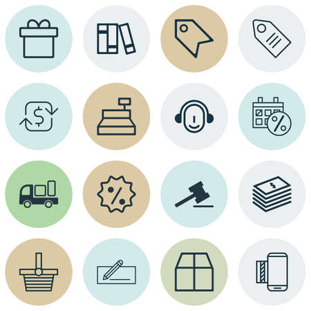 pager: Set Of 16 E-Commerce Icons. Includes Pannier, Recurring Payements, Present And Other Symbols. Beautiful Design Elements.