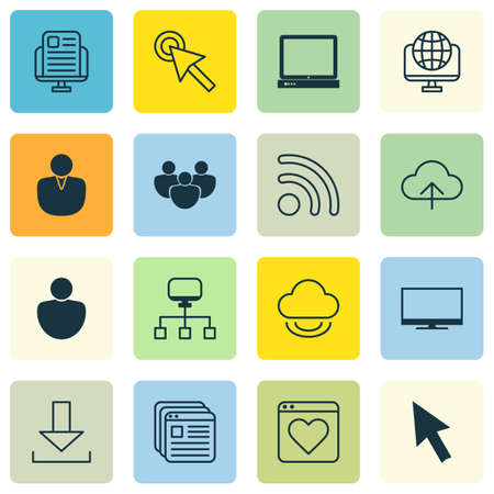 hdtv: Set Of 16 Internet Icons. Includes Blog Page, Account, Followed Website And Other Symbols. Beautiful Design Elements.