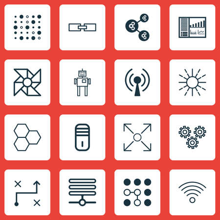 cross linked: Set Of 16 Machine Learning Icons. Includes Variable Architecture, Mainframe, Cyborg And Other Symbols. Beautiful Design Elements.