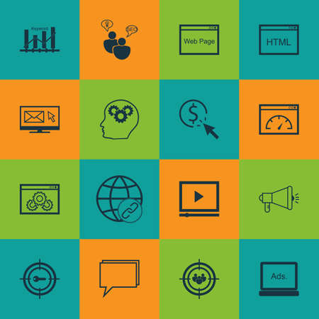 Set Of 16 Advertising Icons Includes Web Page Performance