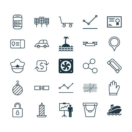 Set Of 25 Universal Editable Icons. Can Be Used For Web, Mobile And App Design. Includes Elements Such As Carpentry, Computer Ventilation, Auto Car And More. Çizim