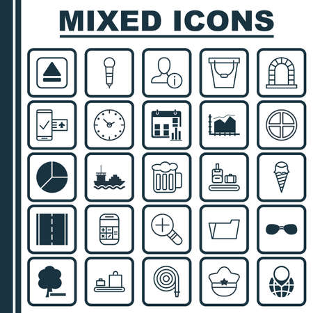 Set Of 25 Universal Editable Icons. Can Be Used For Web, Mobile And App Design. Includes Elements Such As Extract Device, Circle Chart, Range Line Graph And More. Illustration