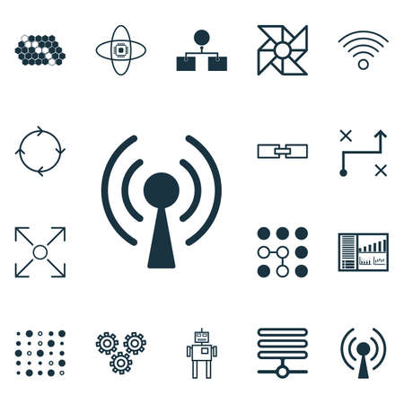 Set Of 16 Machine Learning Icons. Includes Computing Problems, Atomic Cpu, Radio Waves And Other Symbols. Beautiful Design Elements. Illustration