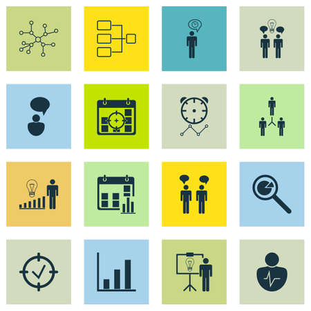 Set Of 16 Administration Icons. Includes Bar Chart, Group Organization, Conversation And Other Symbols. Beautiful Design Elements.