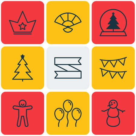 castle conditioning: Set Of 9 Happy New Year Icons. Includes Winter, Decorative Flags, Magic Sphere And Other Symbols. Beautiful Design Elements. Illustration