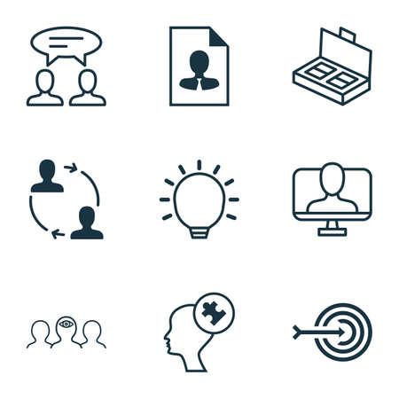 Set Of 9 Business Management Icons. Includes Great Glimpse, Coaching, Online Identity And Other Symbols. Beautiful Design Elements. Ilustração
