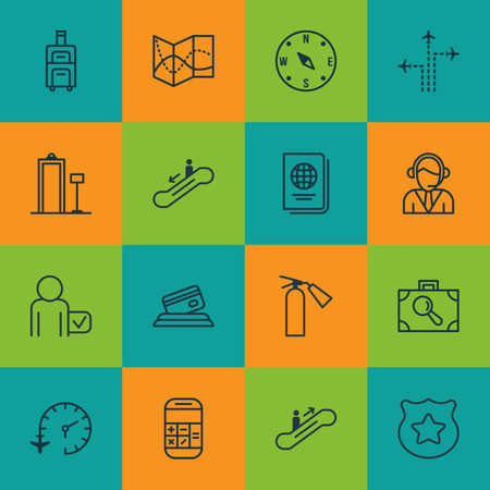 Set Of 16 Travel Icons. Includes Credit Card, Cop Symbol, Baggage Research And Other Symbols. Beautiful Design Elements.