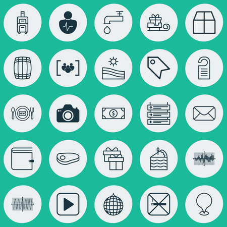 skid: Set Of 25 Universal Editable Icons. Can Be Used For Web, Mobile And App Design. Includes Elements Such As Message, Meadow, Present And More.