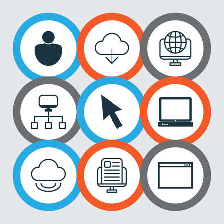 storage device: Set Of 9 World Wide Web Icons. Includes Blog Page, Mouse, Computer Network And Other Symbols. Beautiful Design Elements.