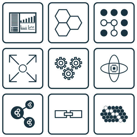 robotic transmission: Set Of 9 Artificial Intelligence Icons. Includes Controlling Board, Branching Program, Atomic Cpu And Other Symbols. Beautiful Design Elements.