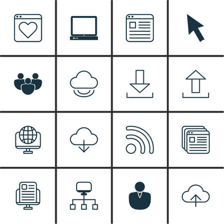 wap: Set Of 16 Internet Icons. Includes Virtual Storage, Account, Website Page And Other Symbols. Beautiful Design Elements.