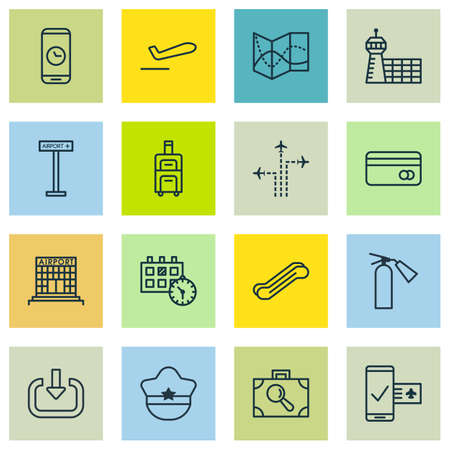 transact: Set Of 16 Transportation Icons. Includes Flight Path, Call Duration, Airfield Manufacture And Other Symbols. Beautiful Design Elements.