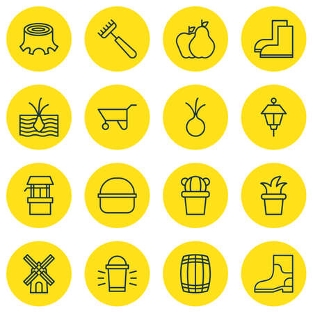 Set Of 16 Agriculture Icons. Includes Rake, Package, Tree Stub And Other Symbols. Beautiful Design Elements. Çizim