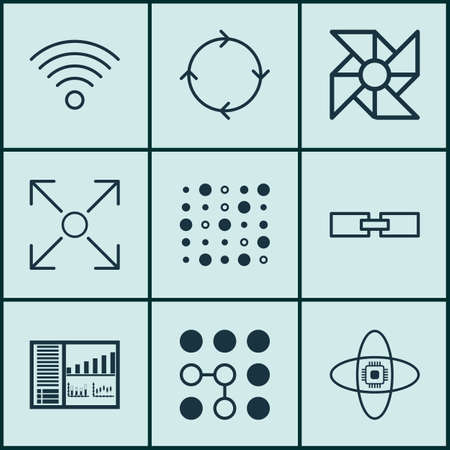 Set Of 9 Robotics Icons. Includes Recurring Program, Wireless Communications, Atomic Cpu And Other Symbols. Beautiful Design Elements.