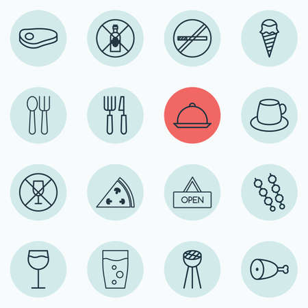 not open: Set Of 16 Restaurant Icons. Includes Board, Fork Knife, Alcohol Forbid And Other Symbols. Beautiful Design Elements.
