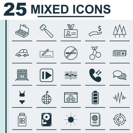 planar: Set Of 25 Universal Editable Icons. Can Be Used For Web, Mobile And App Design. Includes Elements Such As Accumulator Sign, Web Page Performance, Auto Car And More.