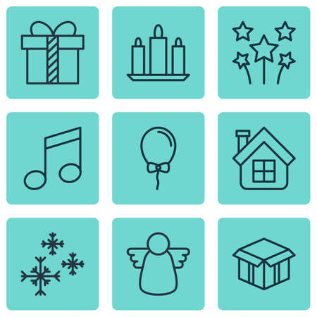 crotchets: Set Of 9 Happy New Year Icons. Includes Balloon, Crotchets, Open Cardboard And Other Symbols. Beautiful Design Elements.