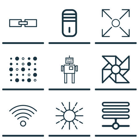 unstructured: Set Of 9 Artificial Intelligence Icons. Includes Wireless Communications, Mainframe, Lightness Mode And Other Symbols. Beautiful Design Elements.