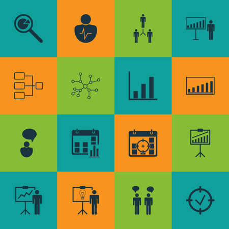 Set Of 16 Board Icons. Includes Report Demonstration, Presentation Date, Group Organization And Other Symbols. Beautiful Design Elements.