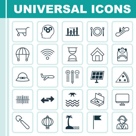 Set Of 25 Universal Editable Icons. Can Be Used For Web, Mobile And App Design. Includes Elements Such As Estate, Wheelbarrow, Computer Monitor And More.