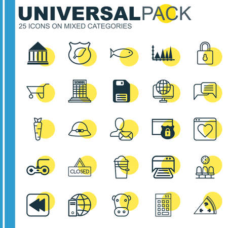 Set Of 25 Universal Editable Icons. Can Be Used For Web, Mobile And App Design. Includes Elements Such As Guard Tree, Closed Placard, Online Chatting And More. Vetores