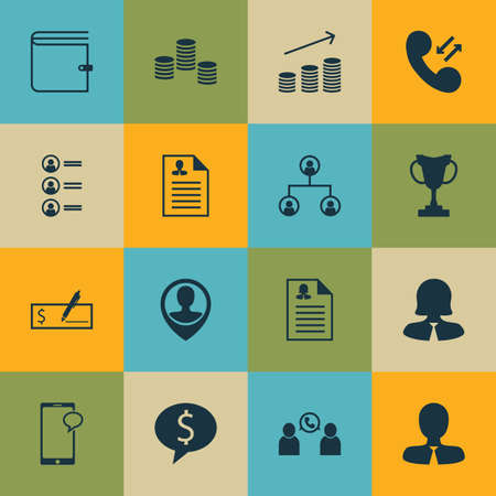 ability to speak: Set Of 16 Human Resources Icons. Includes Cellular Data, Phone Conference, Manager And Other Symbols. Beautiful Design Elements. Illustration