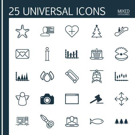 Set di 25 icone editabili universali. Può essere utilizzato per la progettazione di Web, Mobile e App. Include elementi come Clippers, Lettera di festa, Aqua e altro ancora.