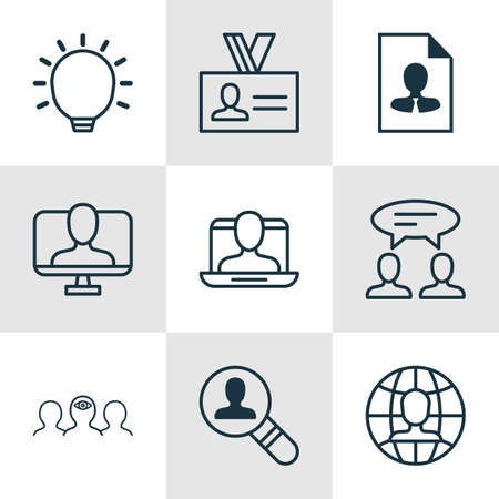 glimpse: Set Of 9 Business Management Icons. Includes Great Glimpse, Open Vacancy, Coaching And Other Symbols. Beautiful Design Elements.