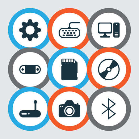 Set Of 9 Computer Hardware Icons. Includes Wireless Connection, Cd-Rom, Camera And Other Symbols. Beautiful Design Elements.